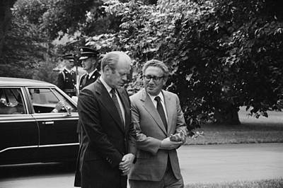 President Gerald Ford And Henry Kissinger 1974 Poster by Mountain Dreams