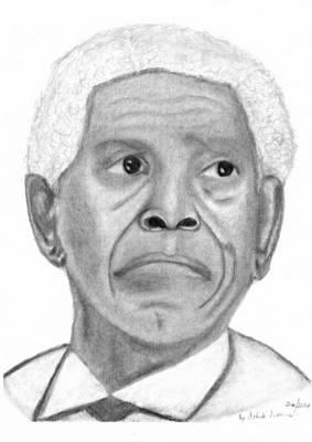 President Nelson Mandela Drawing Poster by Ashok Naraian