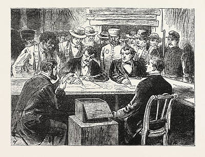Presidential Election, Counting The Votes, Engraving 1876 Poster