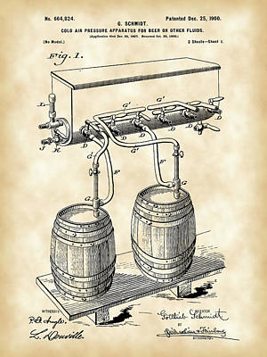 Pressure Apparatus For Beer Patent 1897 - Vintage Poster