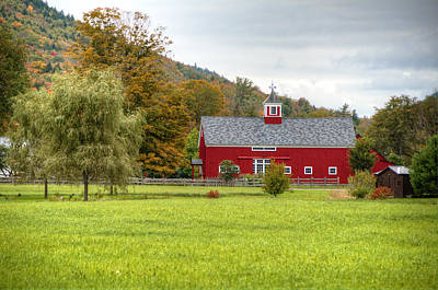 Prettiest Barn In Vermont Poster