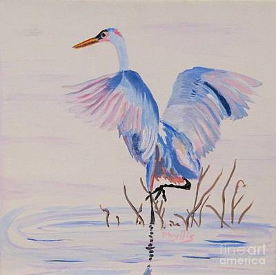 Poster featuring the painting Pretty Crane by Phyllis Kaltenbach