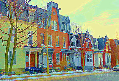 Pretty Row Houses Suburban Sidestreet Winter Pointe St Charles Montreal Art City Scenes C Spandau Poster by Carole Spandau