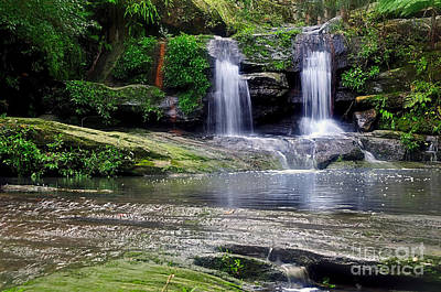 Pretty Waterfalls In Rainforest Poster by Kaye Menner