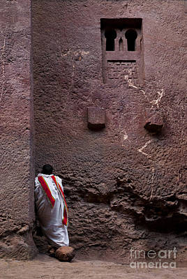 Priest Praying Outside Church In Lalibela Ethiopia Poster