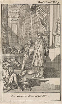 Priest With Holy Water Brush Before The Possessed Bailiff Poster by Caspar Luyken And Jan Claesz Ten Hoorn