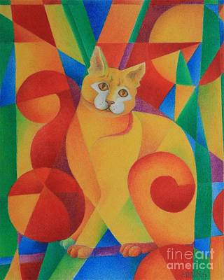 Poster featuring the painting Primary Cat II by Pamela Clements