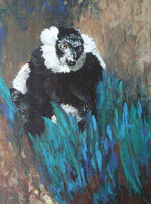 Poster featuring the painting Primate Of The Madagascan Rainforest by Margaret Saheed