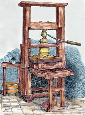 Printing Press Used By Benjamin Poster