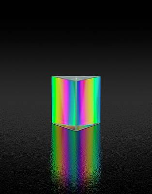 Prism Refracting White Light Poster by David Parker