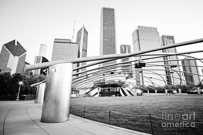 Pritzker Pavilion Chicago Black And White Picture Poster