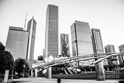 Pritzker Pavilion Chicago Skyline Black And White Photo Poster