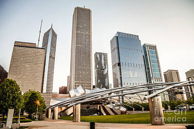 Pritzker Pavilion Chicago Skyline Photo Poster