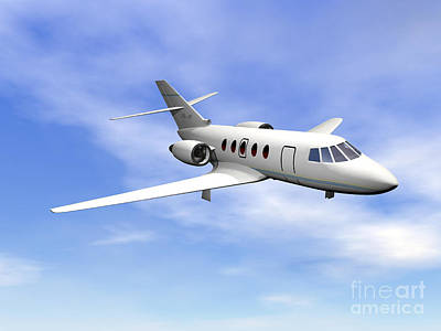 Private Jet Plane Flying In Cloudy Blue Poster