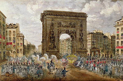 Procession Of Pope Pius Vii 1742-1823 In Paris, 28th November 1804 Coloured Engraving Poster by French School