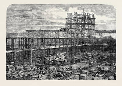 Progress Of The International Exhibition Building Works Poster