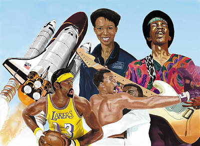 Poster featuring the digital art Jimi, Muhammad Ali, Wilt Chamberlain And Mae Carol Jemison by Thomas J Herring