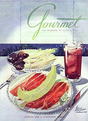 Prosciutto, Melon, Olives, Celery And A Glass Poster by Henry Stahlhut