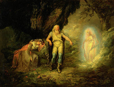 Prospero, Miranda And Ariel, From The Tempest Prospero Poster by Litz Collection