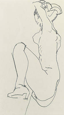 Prostrate Female Nude Poster by Egon Schiele