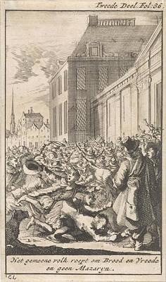 Protest Of The Population Against Cardinal Mazarin Poster by Caspar Luyken And Boudewijn Van Der Aa