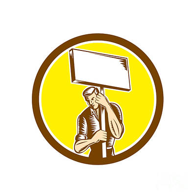 Protester Activist Union Worker Placard Sign Woodcut Poster