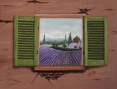 Poster featuring the painting Provence Lavander Fields Original Acrylic by Georgeta Blanaru