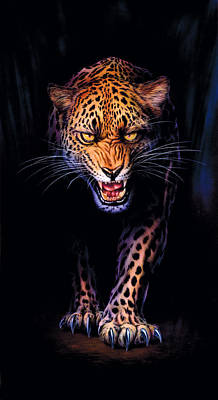Prowling Leopard Crop 1 Poster by Andrew Farley