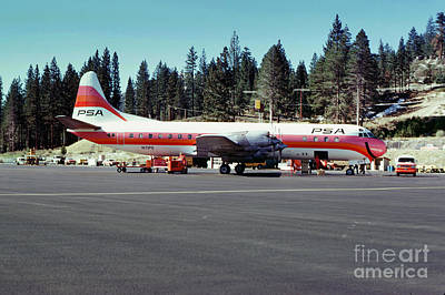 Psa Lockheed L188c Electra   N171p Cindy Lake Tahoe Airport Poster by Wernher Krutein