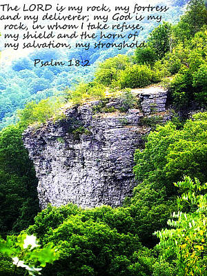 Psalm 18 2 Rock Face Poster