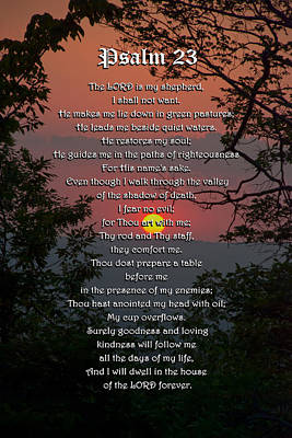 Psalm 23 Prayer Over Sunset Landscape Poster