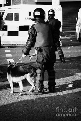Psni Dog Handler In Riot Gear With Dog On Crumlin Road At Ardoyne Shops Belfast 12th July Poster by Joe Fox