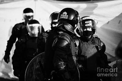 Psni Riot Squad Officers On Crumlin Road At Ardoyne Shops Belfast 12th July Poster