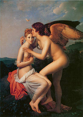 Psyche Receiving The First Kiss Of Love Poster by Baron Francois Gerard