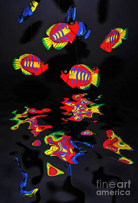 Psychedelic Flying Fish With Psychedelic Reflections Poster by Kaye Menner
