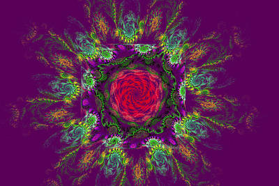 Psychedelic Spiral Vortex Purple Green And Pink Fractal Flame Poster