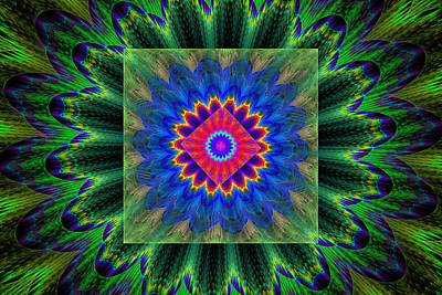 Psychedelic Square Vortex Purple Green Blue And Red Fractal Flame Poster