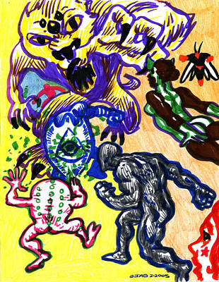 Poster featuring the drawing Psychedelic Super Battle by John Ashton Golden