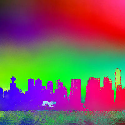 Psychedelic Vancouver Skyline Triptych Centre Poster by Patricia Keith