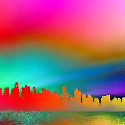 Psychedelic Vancouver Skyline Triptych Right Poster by Patricia Keith