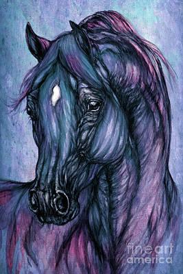 Psychodelic Deep Blue Poster by Angel  Tarantella