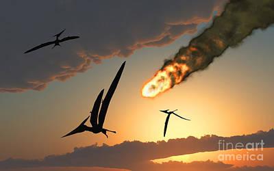Pteranodons In Flight, Unaware Poster