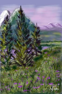 ptg.  Mountain Meadow Pond Poster by Judy Via-Wolff