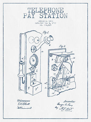 Public Telephone Patent Drawing From 1907  - Blue Ink Poster by Aged Pixel