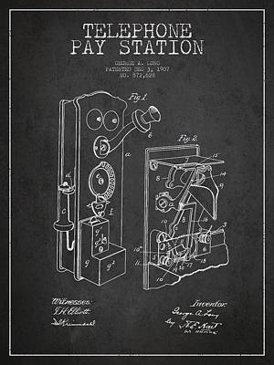 Public Telephone Patent Drawing From 1907 - Dark Poster