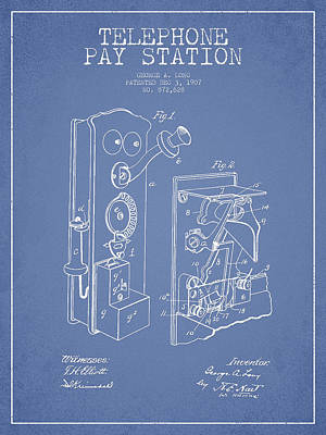 Public Telephone Patent Drawing From 1907 - Light Blue Poster
