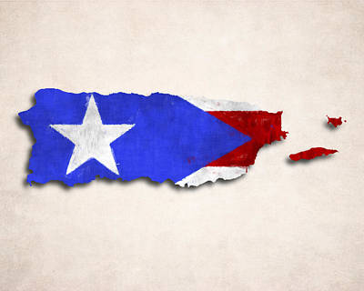 Puerto Rico Map Art With Flag Design Poster