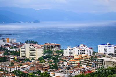 Puerto Vallarta And Blue Ocean Poster
