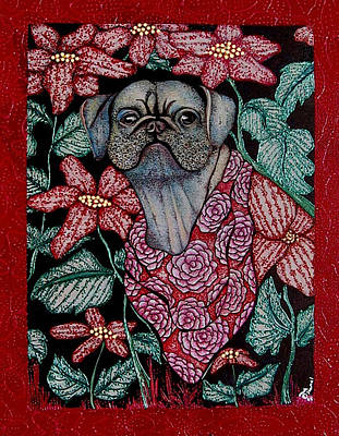 Pug In The Garden Poster by Dede Shamel Davalos
