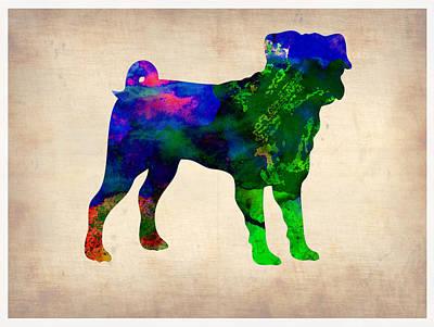 Pug Watercolor  Poster by Naxart Studio